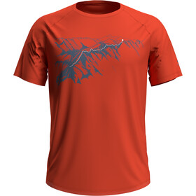 Odlo Concord Crewneck T-shirt Heren, mandarin red/mountain print